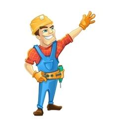 Handyman builder in helmet pointing to the top vector image vector image