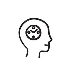 Human head with clock sketch icon vector