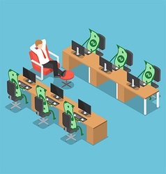 Isometric businessman let his money do the work vector image vector image