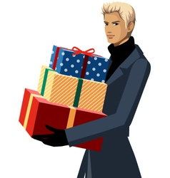 man with gift boxes vector image