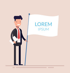 manager or businessman holding a white flag in his vector image