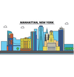 manhattan new york city skyline architecture vector image vector image