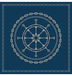 Marine emblem with ships wheel vector image