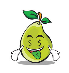 Money mouth pear character cartoon vector
