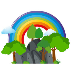 scene with mountain and rainbow vector image vector image