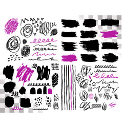 Set of brush acrylic strokes black violet vector