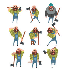 Set of funny bald lumberjack in different poses vector