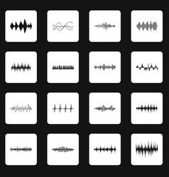 sound wave icons set squares vector image