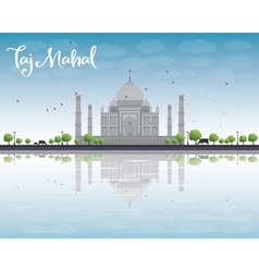 Taj mahal with tree and cow vector