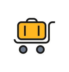 trolley luggage icon on white background vector image vector image
