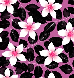 Tropical pink hibiscus flowers with black leaves vector