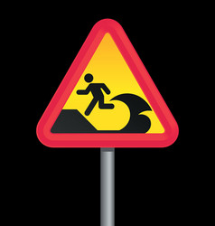 tsunami warning sign vector image