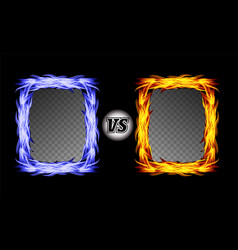 Versus symbol with fire frames vs letters vector