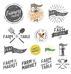 Vintage farm logos and design elements vector image vector image