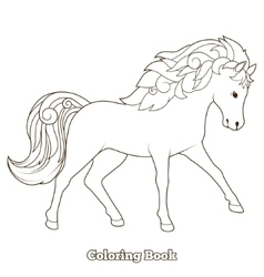 Wild horse coloring book educational game vector