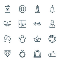 Year icons set collection of archangel brilliant vector