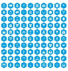 100 heart icons set blue vector