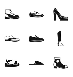 Kind of shoes icons set simple style vector
