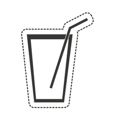 Water glass with straw drawing vector