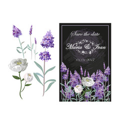 Invitation with lavender and peony on chalkboard vector