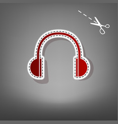 Headphones sign   red icon vector