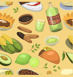 Mexican traditional food meal plates lunch sauce vector