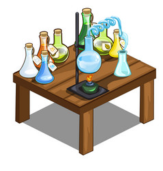 Chemical flasks on table magic potions concept vector