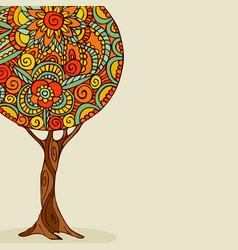 Mandala tree hand drawn floral art vector