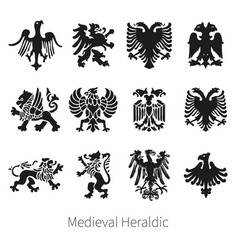 Set heraldic medieval lion griffin and eag vector