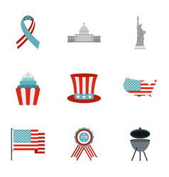 Fourth of july day icon set flat style vector