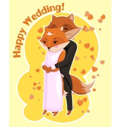 Cartoon postcard for wedding with cute foxes vector
