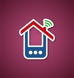 Paper phone house over pink vector