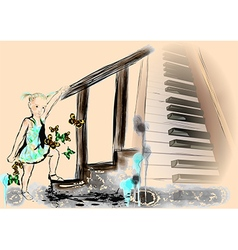 Little girl and piano vector