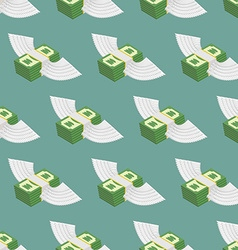 Dollars Cash with wings seamless pattern vector image