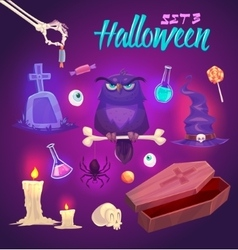 Spooky halloween objects vector
