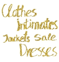 Glitter lettering clothes intimates jackets vector