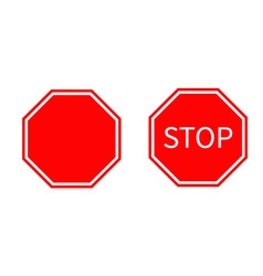 Stop traffic warning road sign set prohibition no vector