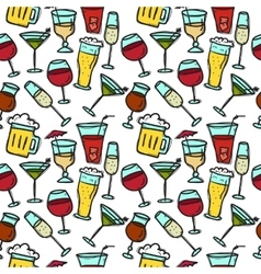 Doodle drinks seamless pattern beverages vector