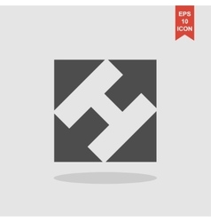 Rectangular square and arrows abstract icon vector