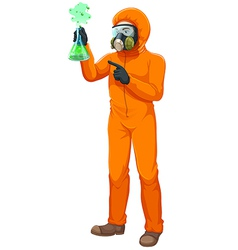 A chemist holding a volumetric flask vector image