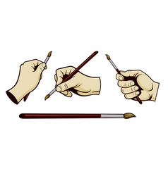artist hands with paint brush vector image vector image