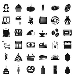 Bakery icons set simple style vector