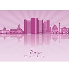 Boston skyline in purple radiant orchid in vector