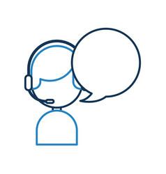 Call center agent with speech bubble avatar vector