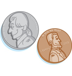 Cartoon Pair of Coins vector image