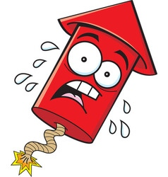 Cartoon worried firecracker vector image