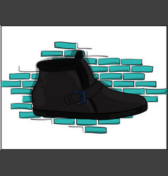 Casual gray shoes on a blue brick wall background vector