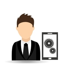 Character man with technology work solution design vector