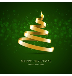 Christmas tree from gold ribbon background vector