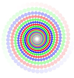 Colored circles in spiral vector